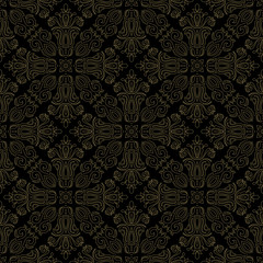 Classic seamless pattern. Damask orient black and golden ornament. Classic vintage background