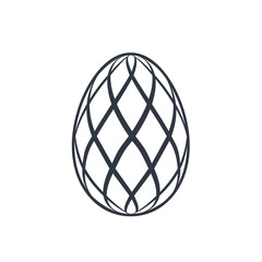 Easter egg icon. Black egg sign, isolated white background. Simple design, decoration Happy Easter. Holiday decorative element. Cute pattern ornament celebration. Spring symbol. Vector illustration