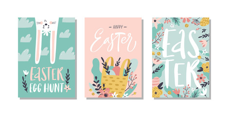 Set of Easter greeting cards and invitation for Easter egg hunt party. Hand drawn style.