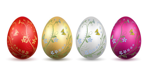Easter egg 3D icon. Bright eggs set isolated white background. Floral hand drawn gold design, flower branch leaf decoration pattern Happy Easter celebration. Holiday spring lement. Vector illustration
