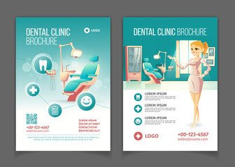 Dental clinic cartoon vector advertising brochure or promo booklet pages template with comfortable stomatology chair and happy smiling female doctor or nurse in dentists office interior illustration.