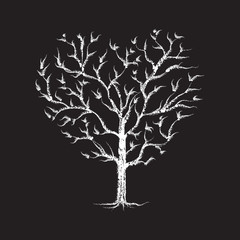 Heart Tree chalk sketched - white on black
