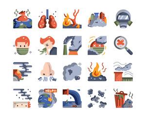 world pollution pm2.5 problem icon vector set