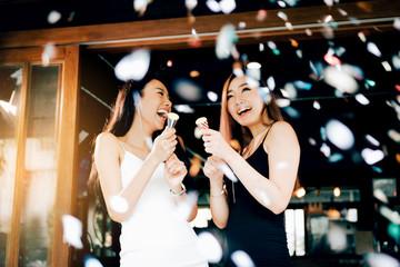 Asian young women having celebrate.