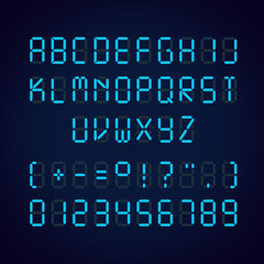Vector template of glowing realistic digital blue alphabet and numbers