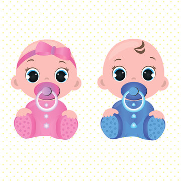 Two cute twin babies, a baby girl and a baby boy