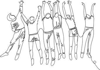 a group of children in a jump. happy children. linear drawing. one line