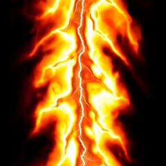 burning Lightning made from fire striking over black background
