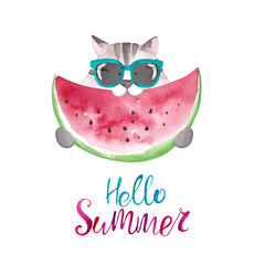 Cute watercolor cat in sunglasses eating watermelon. Hello summer card