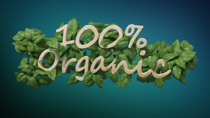 Wooden logo 100 % organic with leaves around 3d rendering