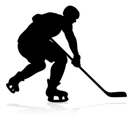 A detailed silhouette hockey player sports illustration
