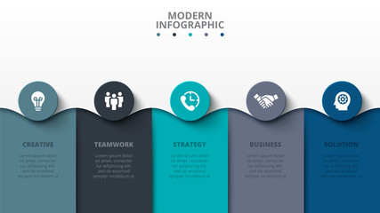 Modern infographic design template. Vector illustration. Abstract diagrams with 5 steps, options, parts or processes. Wall mural