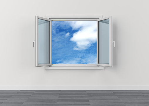 open window sky clouds freedom dream vision serene
