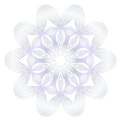 Beautiful Round Flower Mandala. Vector illustration. White gold color. For Design, Greeting Card, Invitation, Coloring Book. Arabic, Indian, Motifs.