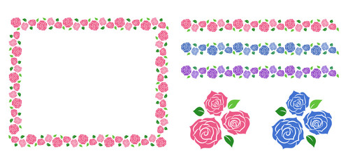 Roses decoration frame and line set