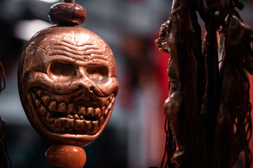 "Laughing skull details along with magical shamanic pendants. Mexican, latino, hispanic and south American culture, celebration day for ""cinco de mayo"" and the famous ""dia de los muertos""."