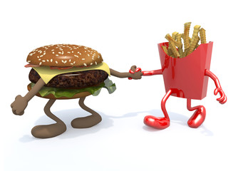 burger and fries potatos with arms and legs
