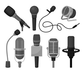 Flat vector set of different microphones. Professional sound recording equipment. Dynamic and condenser mics