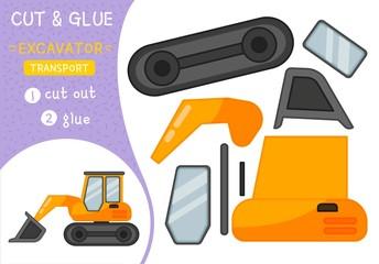 Education paper game for preshool children. Vector illustration. Cartoon excavator.