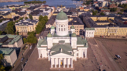 Helsinki Lutheral Cathedral shot with a drone form above