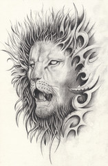 Art Surreal Lion Tattoo. Hand drawing on paper.
