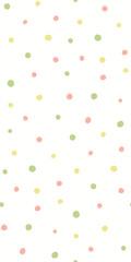 Hand drawn seamless geometric pattern with circles, in pink, green, yellow, on white background. Vector illustration. Flat style design. Concept for kids textile print, wallpaper, wrapping paper.