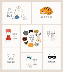 Wall Murals Illustrations Set of cards with cute color doodles of different cats with funny quotes for cat lovers. Hand drawn vector illustration. Line drawing. Design concept for poster, t-shirt, fashion print.