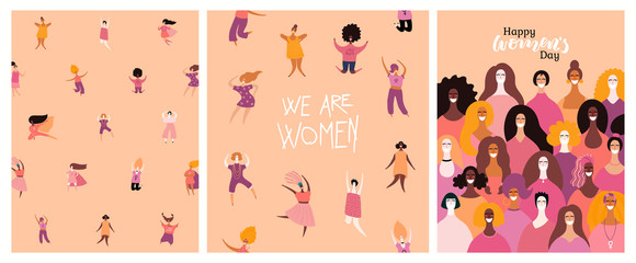 Fototapeta Set of womens day cards with diverse women and lettering quotes. Hand drawn vector illustration. Flat style design. Concept, element for feminism, girl power, poster, banner, background. obraz