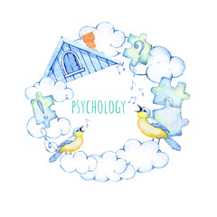 hand drawn watercolor wreath on the subject of psychology