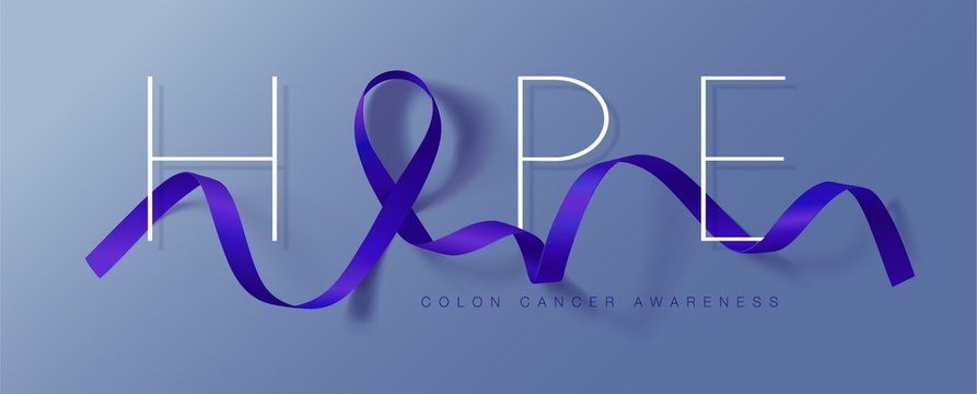 Colon Cancer Awareness Calligraphy Poster Design. Realistic Dark Blue Ribbon. March is Cancer Awareness Month. Vector