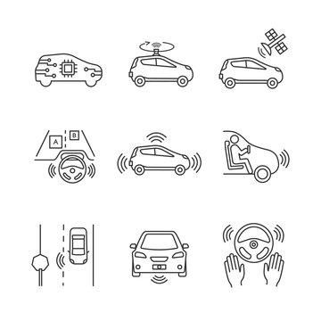 Autonomous car linear icons set