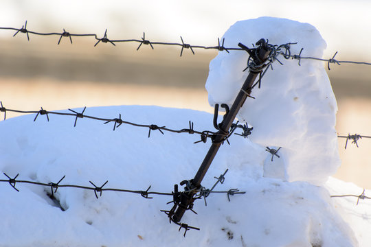 Barbed wire stretched across the top of the fence.