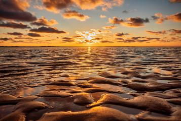 In de dag Noordzee Sonnenuntergang an der Nordsee