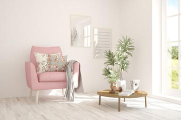 White cozy minimalist room with pink armchair. Scandinavian interior design. 3D illustration