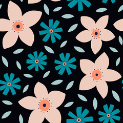 Beautiful floral pattern in scandinavian folk art style. Seamless background with geometrical flowers. Floral pattern perfect for wrapping paper and packaging design.