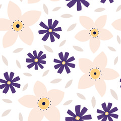 Seamless Floral pattern. Vector texture with flowers and leaves.