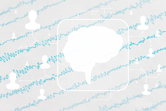 Brain wave on EEG background, electroencephalogram of the brain. Health care network concept.