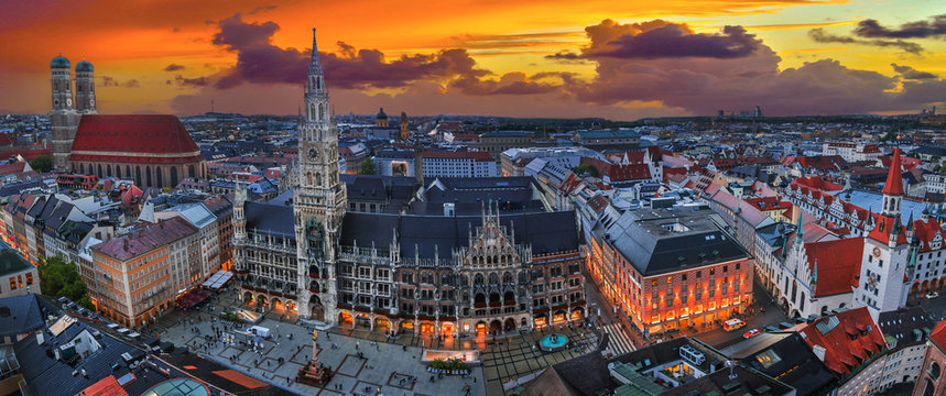 panoramic munich cityscape with church Frauenkirche and square Marienplatz. Capital of Bavaria with famous sights.