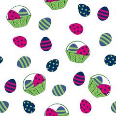 nahtloses Osterdesign mit Ostereiern und Obstkorb. Vektor Eps 10