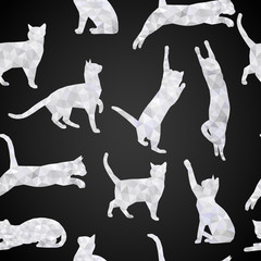 Seamless vector background with cats in style of Poly Low