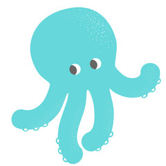Blue octopus vector icon illustration
