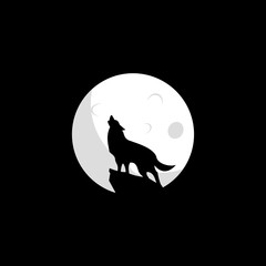 Wolf moon logo design. Wolf icon flat vector illustration for logo.