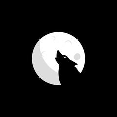 Wolf moon logo design. Wolf icon flat vector illustration for logo.