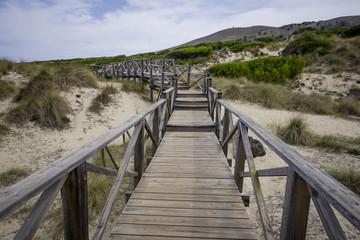 Wooden bridge over the beach of Palma de Mallorca, Cala Mesquida is such a beautiful place to be
