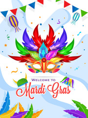 Mardi Gras party template or invitation card design with colorful party mask on abstract background.