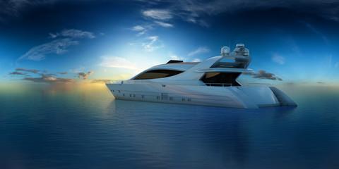 luxusyacht auf offenem ozean