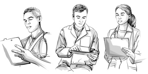 Doctors working set Vector sketch storyboard. Detailed character illustrations