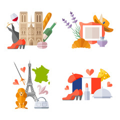 Set of ready-made composition on the theme of traveling to France. Vector templates with french symbols in flat style.