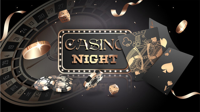 Advertising poster design, Casino Night text with casino chips, coins and playing cards illustration on black background.