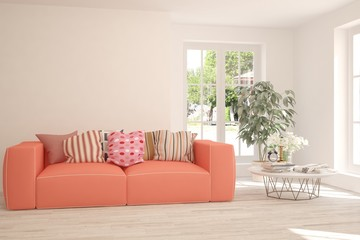 White stylish minimalist room with coral sofa. Scandinavian interior design. 3D illustration
